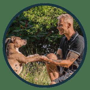 Hundetrainer bringt Hund Männchen machen bei